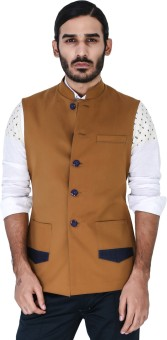 Mr Button Dark Mustard Nehru Jacket With Denim Detail Solid Men's Waistcoat