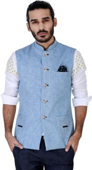 Mr Button Ice Blue Textured Linen Nehru Jacket With Blue Detail Solid Men's Waistcoat
