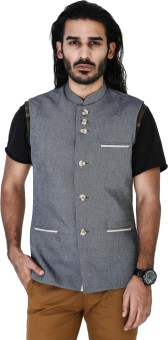 Mr Button Blue Denim Linen Nehru Jacket With Tape Detail Solid Men's Waistcoat