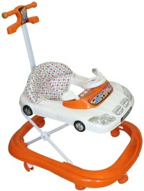 Panda Orange And White baby car walker with handle