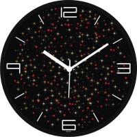 Regent Absract Stars Work With Simple Analog Analog Wall Clock (Shiny Black)