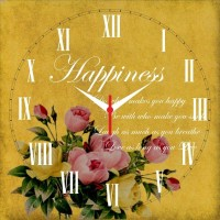 Go Hooked Happiness Mantra Printed Analog Wall Clock Multicolor