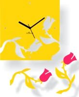 Zeeshaan Falling Roses Yellow And Pink Analog Wall Clock Pink, Yellow