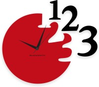 Blacksmith Black & Red 123 Classic Analog Wall Clock Red