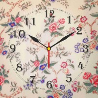 Go Hooked Floral Print Analog Wall Clock Multicolor