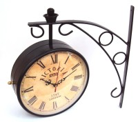 Artondoor 8 Inch Station Double Side Antique Dial Analog Wall Clock (Black)