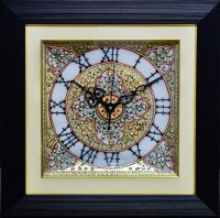 ECraftIndia Radiant Flowers Marble With LED & Wooden Frame Analog Wall Clock (Black)