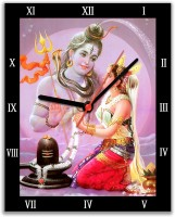 Lovely Collection Shiv And Parvati Religious Analog Wall Clock (Multicolor)