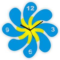 Zeeshaan Blooming Flowers Analog Wall Clock Blue, Yellow