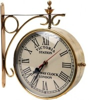Artondoor 8 Inch Brass Station Double Side Analog Wall Clock - Golden