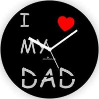 Zeeshaan I Love My Dad Analog Wall Clock Black, Red