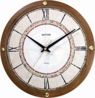 Rhythm Analog Wall Clock Wooden Grain, With Glass
