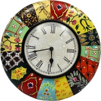 Tejasvi's Art&Craft Analog Wall Clock Wood In Colourfull Painting, With Glass