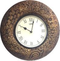 GRV Analog 29.5 Cm Dia Wall Clock Brown, With Glass