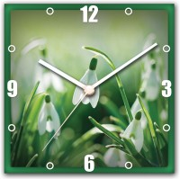 StyBuzz White Flower And Green Analog Wall Clock Multicolor
