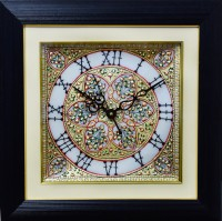 ECraftIndia Golden Flowers Marble With LED & Wooden Frame Analog Wall Clock (Black)