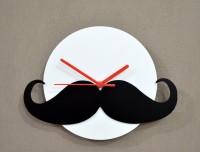Blacksmith Hipster Moustache Black Analog Wall Clock (White)