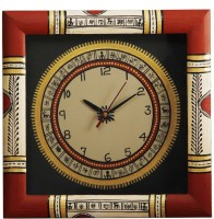 Unravel India Warli Hand Painted Wooden Analog Wall Clock (Red Border With Black Base)