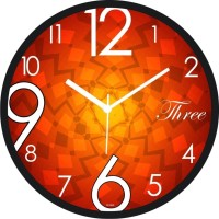 Regent Abstract Squre Background Analog Wall Clock (Shiny Black)
