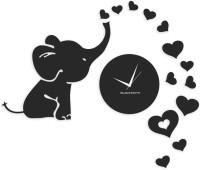 Blacksmith Elephant Love Hearts Black Analog Wall Clock Black