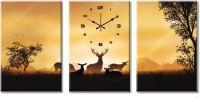 Design O Vista Three Panel DV3-S-R1009 Analog Wall Clock (Multicolor)