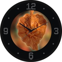 Regent Lord Ganesh On Leaf Design Analog Wall Clock (Shiny Black)