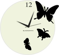 Blacksmith Round Butterfly Silver & Black Analog Wall Clock Silver