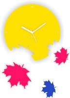 Zeeshaan Maple Leaves Rainbow Yellow Analog Wall Clock Multicolor