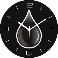 Regent Black And White Water Drop Analog Wall Clock (Shiny Black)