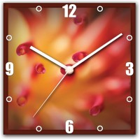 StyBuzz Flower Red Yellow Analog Wall Clock (Multicolor)