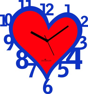 Zeeshaan Hearty Numbers Red And Blue Analog Wall Clock Red, Blue