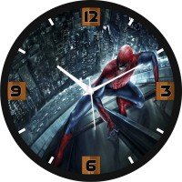 Regent Spiderman Stick To The Glass Analog Wall Clock (Shiny Black)