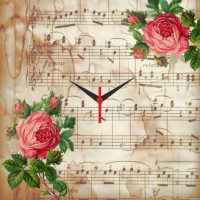 Go Hooked Musich And Roses Printed Analog Wall Clock Multicolor