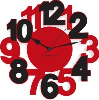 Blacksmith Black & Red Classic Numbers Analog Wall Clock Red