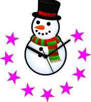 Zeeshaan Snowman & Stars Analog Wall Clock Black, Red, Green, Pink