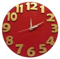 Earth Numbers Embossed Analog Wall Clock (Red, Gold)