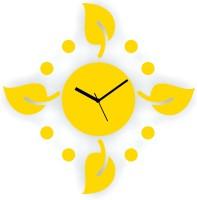 Zeeshaan Polka Leaves Yellow Analog Wall Clock Yellow