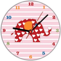 Lovely Collection Designer Multicoloured Elephant Kids Analog Wall Clock (Multicolour)