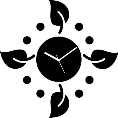 Zeeshaan Polka Leaves Black Analog Wall Clock Black