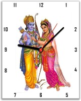 Lovely Collection Ram And Sita Religious Analog Wall Clock Multicolor