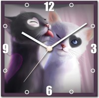 StyBuzz Black And White Cat Love Analog Wall Clock Multicolor