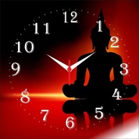 Go Hooked Meditating Buddha Print Analog Wall Clock Multicolor