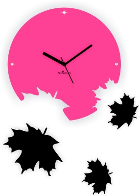 Zeeshaan Maple Leaves Pink And Black Analog Wall Clock (Pink, Black)