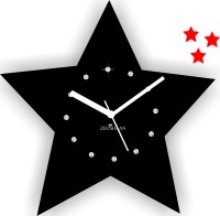 Zeeshaan Stars In Stars Black And Red Analog Wall Clock Black, Red
