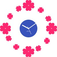 Zeeshaan Floating Flowers Pink And Blue Analog Wall Clock (Blue, Pink)