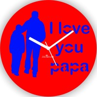 Zeeshaan I Love You Papa Analog Wall Clock Red, Blue