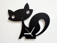 Blacksmith White Cartoon Fox Analog Wall Clock (Black)