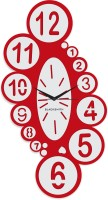 Blacksmith Red Overlapped Numbeer Analog Wall Clock Red