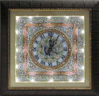 ECraftIndia Decorative Marble With LED And Wooden Frame Analog Wall Clock (Brown)