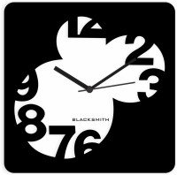Blacksmith Black & White Number Squared Out Analog Wall Clock Black
